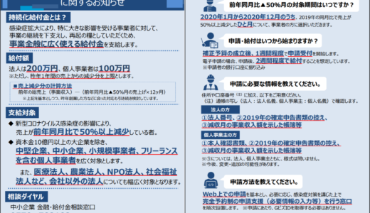 【5月2日更新】持続化給付金(中小企業等上限200万円、個人事業者上限100万円)電子申請受付開始しました