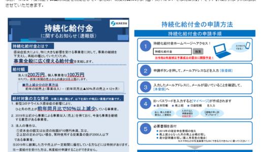 昨日、持続化給付金の交付要領(速報版)が公表されました(28日(火))