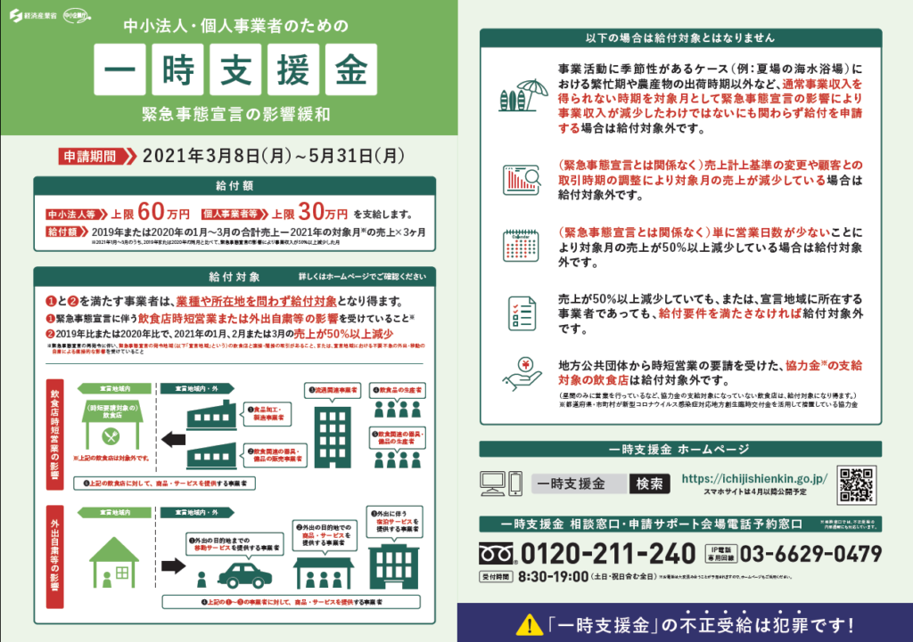 国緊急事態宣言の影響緩和に係る一時支援金リーフレット(表)